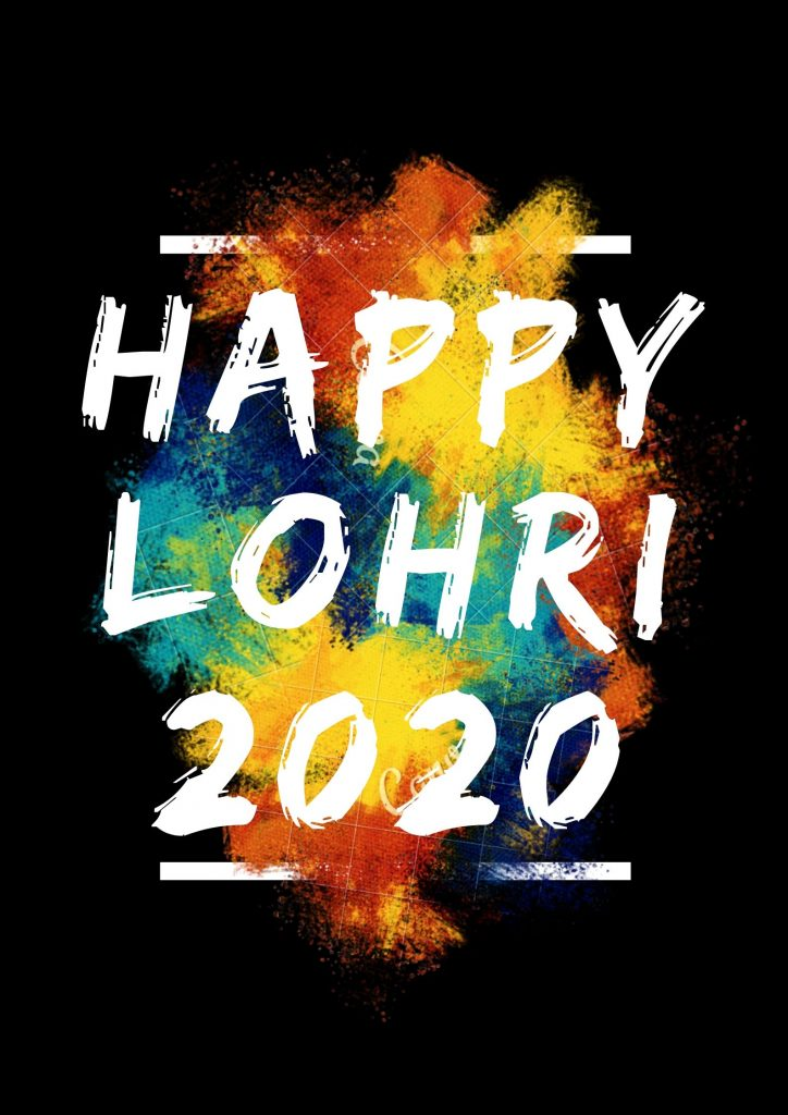 Happy Lohri 2020 Best Wishes On Black Background Image Download