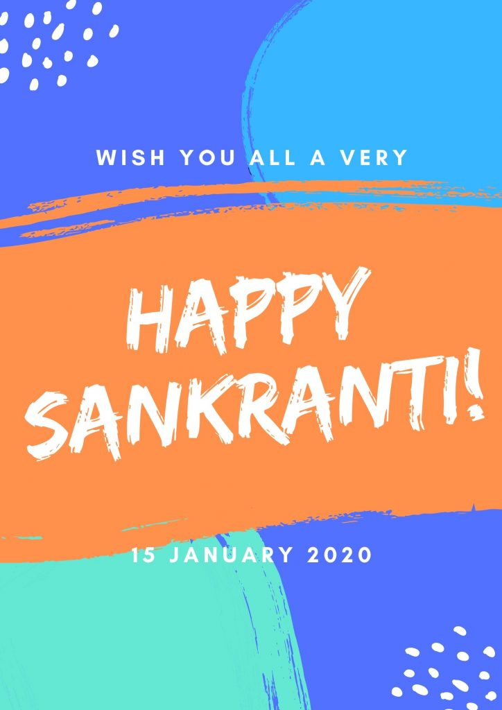 Happy Sankranti 2020 Image In Blue Background For Free Download