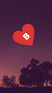 Image of only Letter B in heart alone for free download