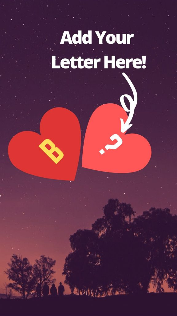 Image Of Letter B In Heart With Other Letters For Free Download