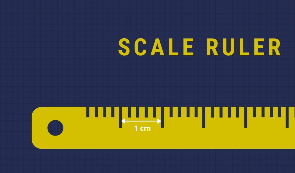 A scale ruler measuring in centimeters