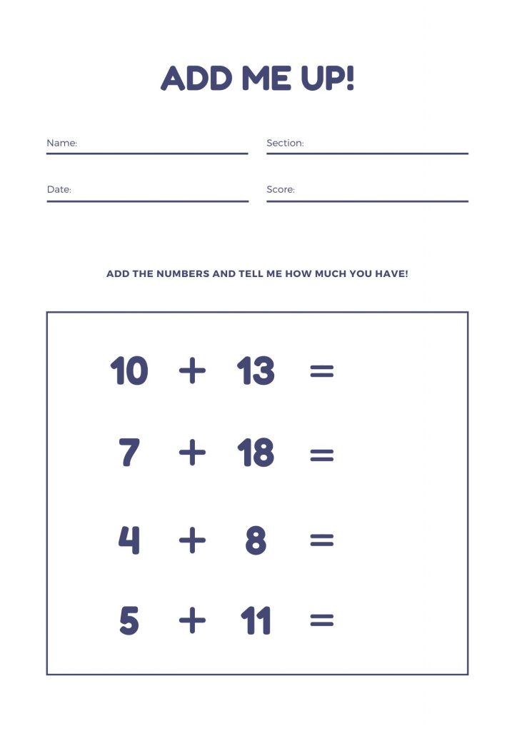 Printable math worksheet for 2nd grade